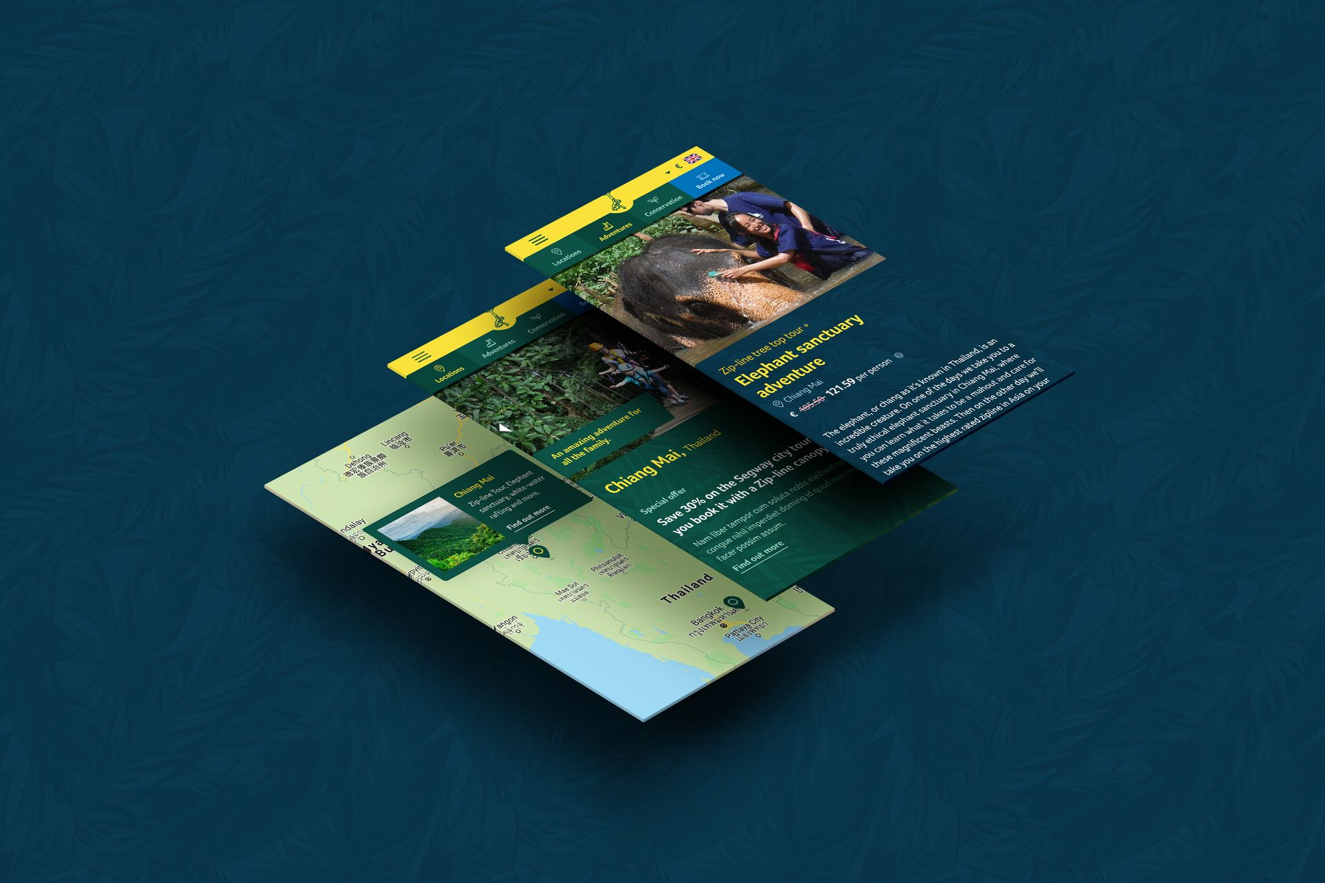 Flight of the Gibbon mobile screen designs