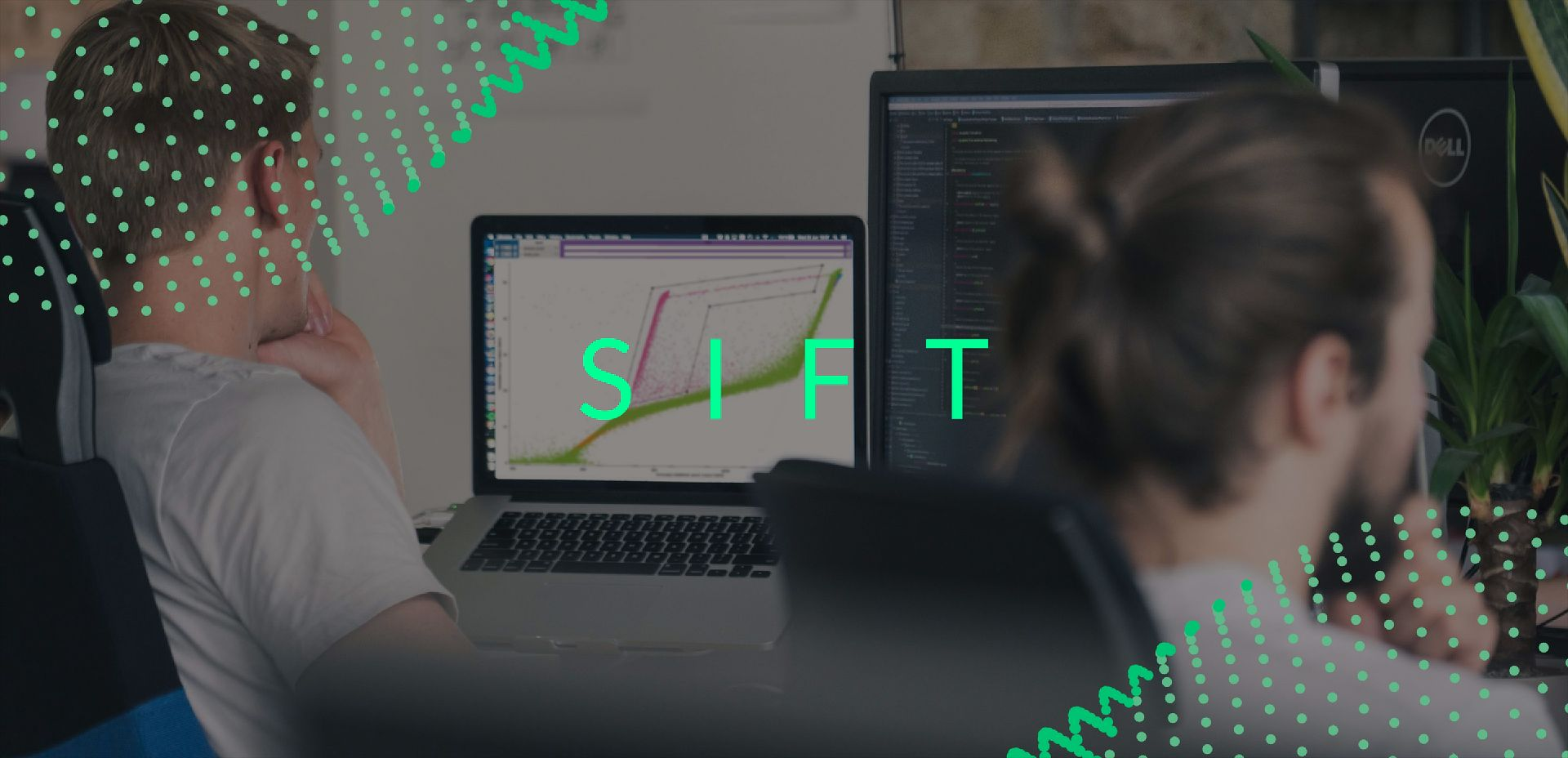 Sift logo with people working at computers