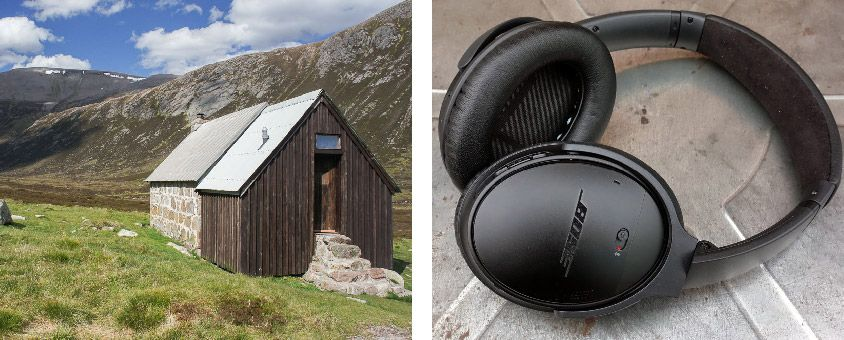 Scotland bothy and Bose headphones