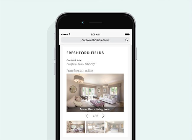 Cotswold Homes mobile website example