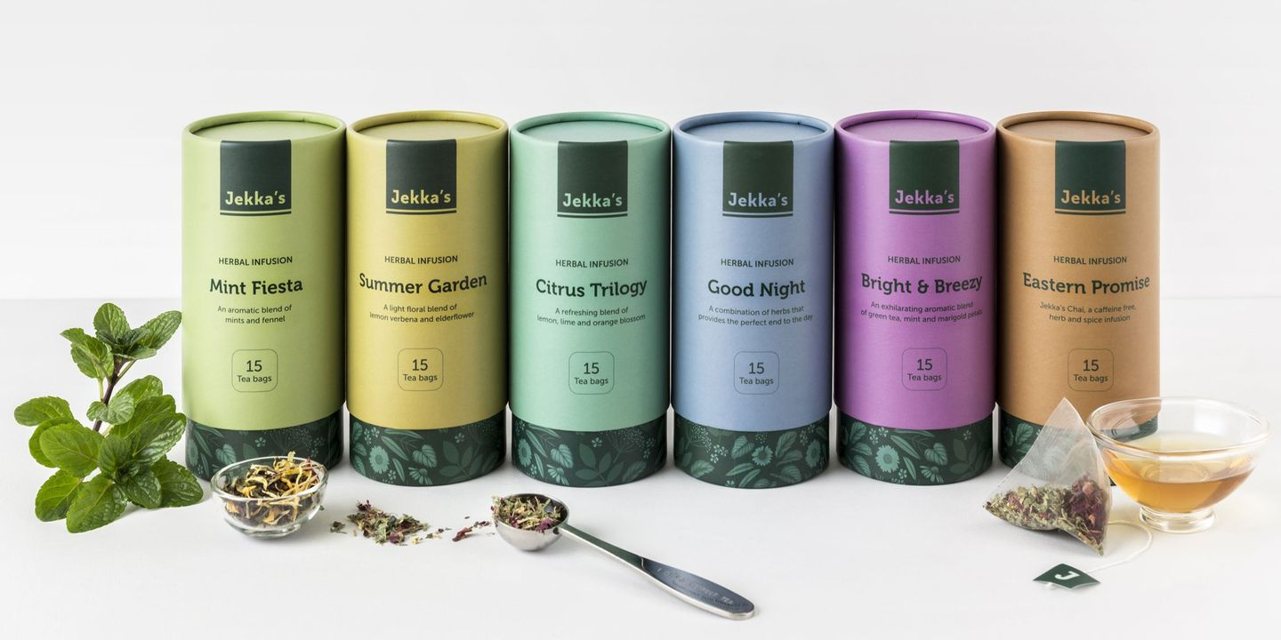 Jekka's herbal infusion tea packaging