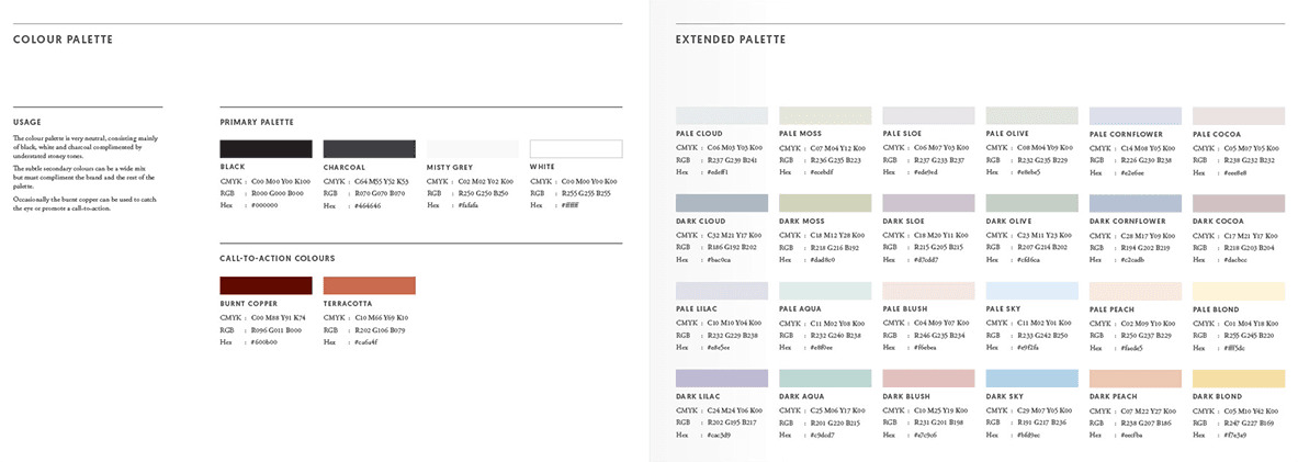 Cotswold Homes brand colours guidelines