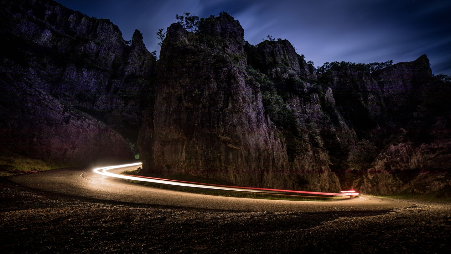 Light trails in Cheddar Gorge
