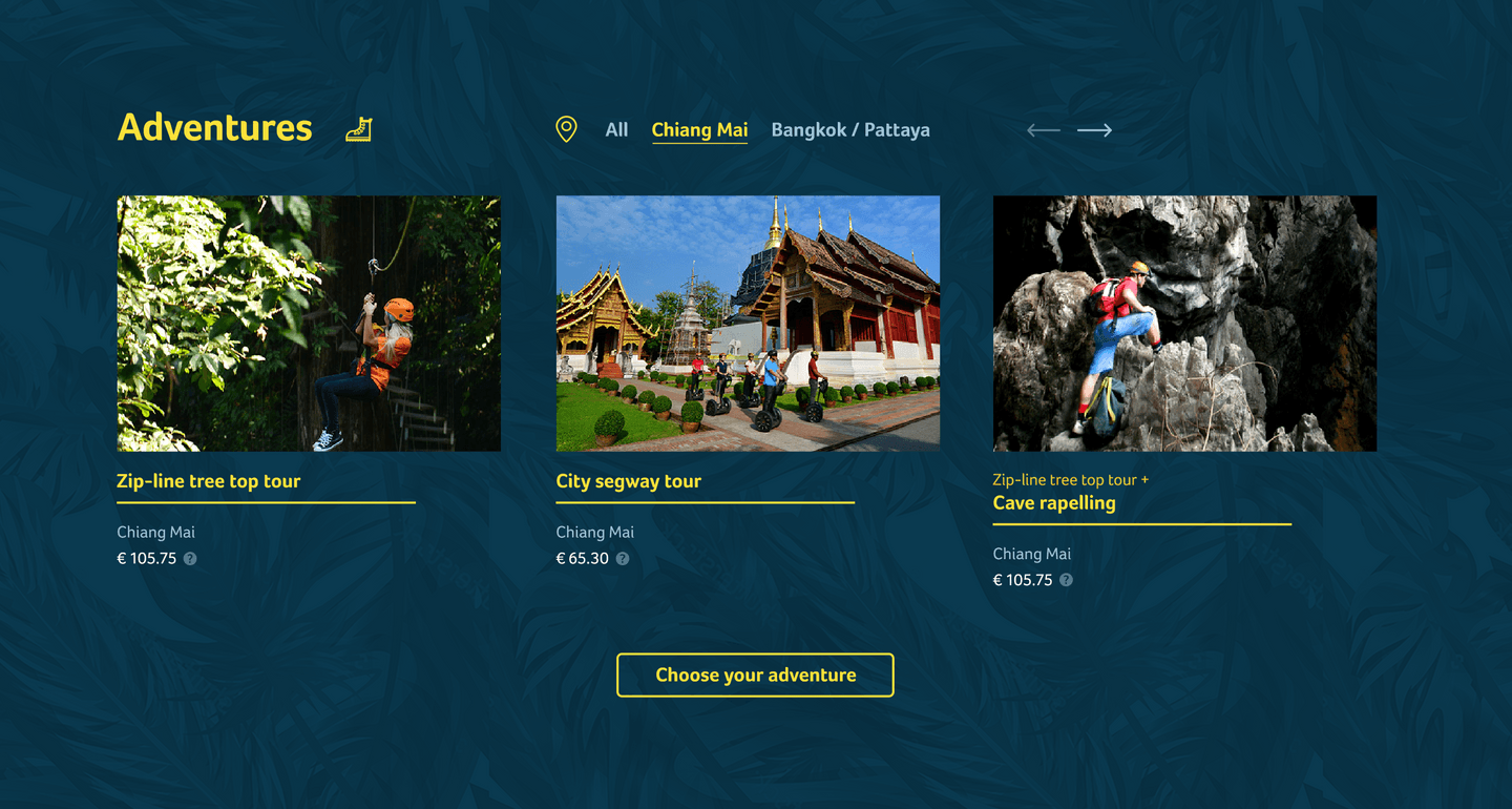Flight of the Gibbon Adventure selection design